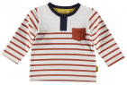BESS T-Shirt Henley Striped White