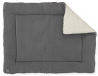Jollein Boxkleed Bliss Knit Storm Grey /Coral Fleece 75 x 95 cm