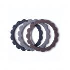 Mushie Bijt Armbanden Flower Steel/Dove Gray/Stone (3 stuks)