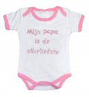 La Petite Couronne Romper Papa Is De Allerliefste White Pink