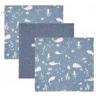 Little Dutch Monddoek Ocean Blue/Pure Blue/Ocean Blue 3-Pack