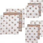 Meyco Starterset Luier - Monddoek - Washand Block Stripe Camel 9-Pack